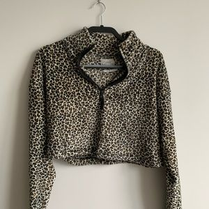 Urban Outfitters Leopard Print Cropped ZIP Up